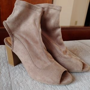 Qupid peep toe sling back booties